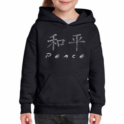 Los Angeles Pop Art Chinese Peace Symbol Long Sleeve Girls Word Art Hoodie
