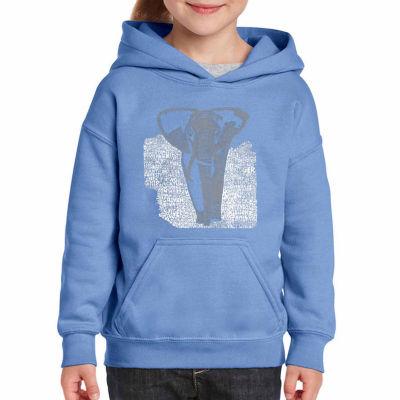 Los Angeles Pop Art Elephant Long Sleeve Girls Word Art Hoodie