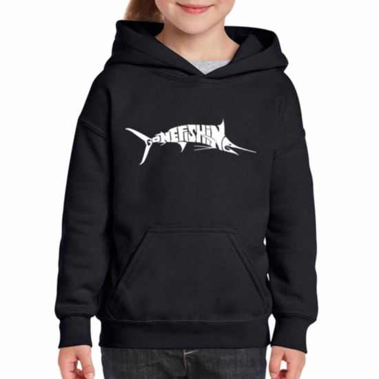 Los Angeles Pop Art Marlin - Gone Fishing Long Sleeve Girls Word Art Hoodie