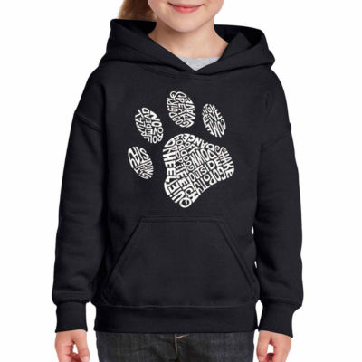 Los Angeles Pop Art Dog Paw Long Sleeve Girls WordArt Hoodie