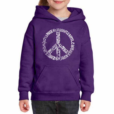 Los Angeles Pop Art The Word Peace In 20 Languages Long Sleeve Sweatshirt Girls