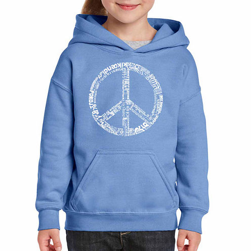 Los Angeles Pop Art The Word Peace In 77 Languages Long Sleeve Sweatshirt Girls