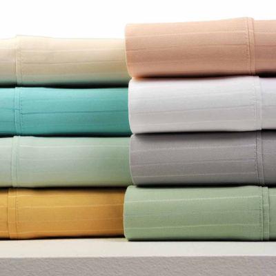Bibb Home 1500 Thread Count Pinstripe Cotton Rich Bed Sheets 4 Piece Set