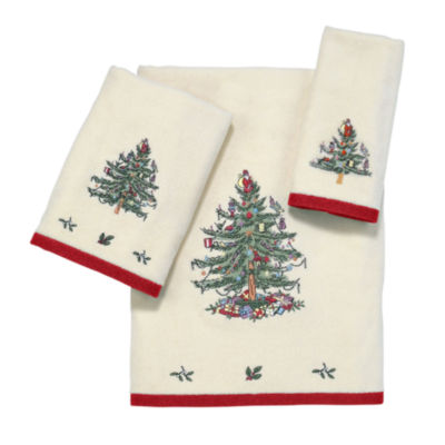 Spode Christmas Tree Embroidered Bath Towel Holiday Bath Towel
