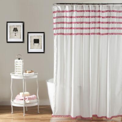 Lush Decor Lush Décor Aria Pom Pom Shower Curtain