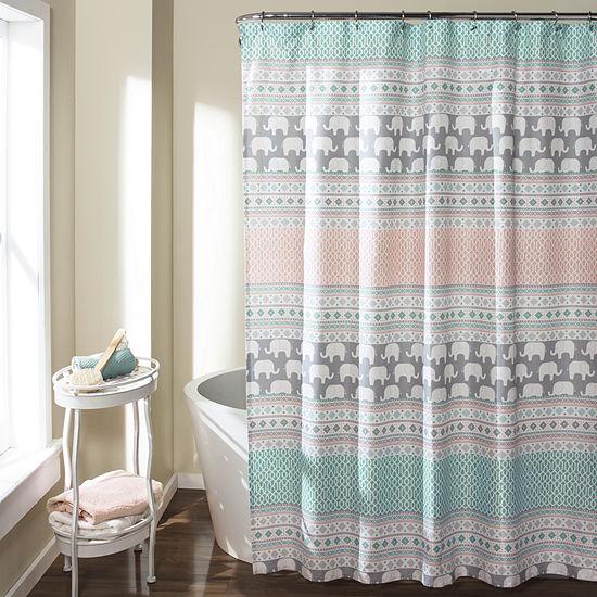 Lush Décor Elephant Stripe Shower Curtain