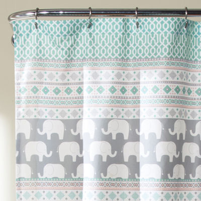 Lush Décor Elephant Stripe Shower Curtain