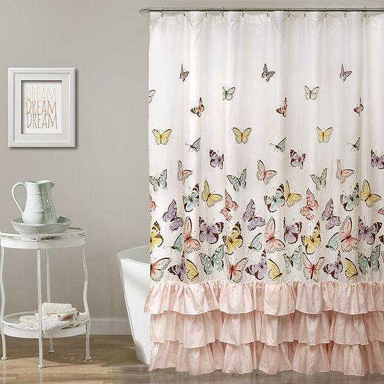 Lush Décor Flutter Butterfly Shower Curtain