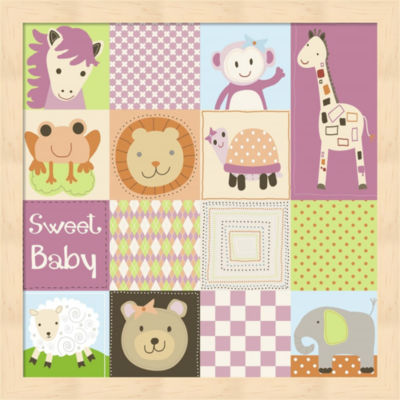 Metaverse Art Baby Girl Animal Quilt Framed Wall Art
