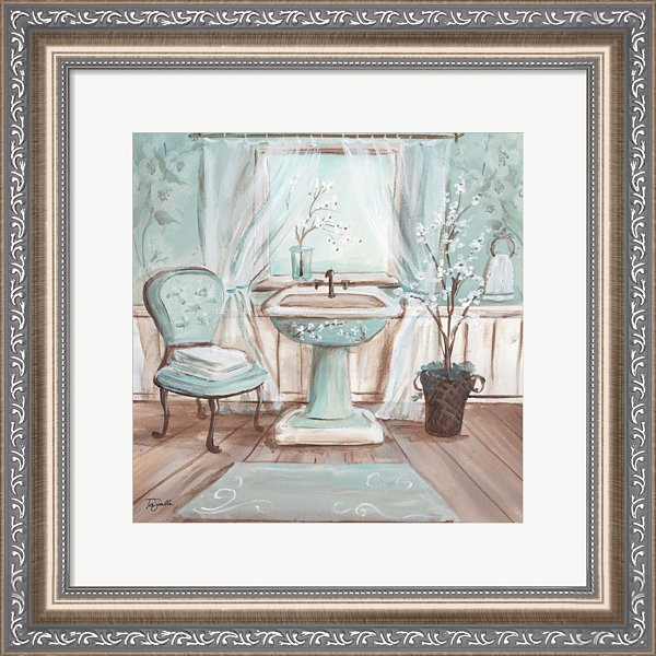 Aqua Blossom Bath I Framed Wall Art