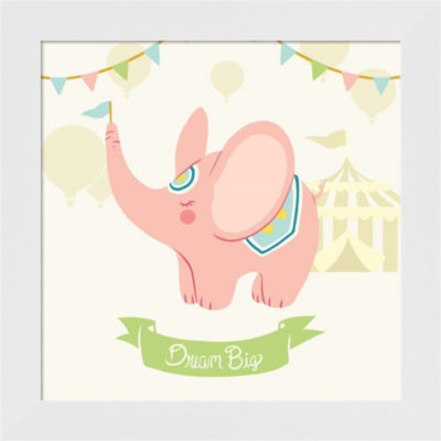 Metaverse Art Little Circus Elephant Pastel FramedWall Art