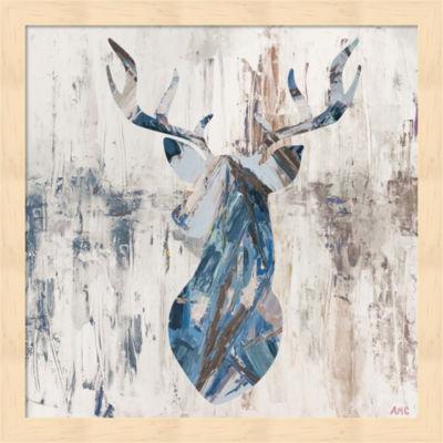 Metaverse Art Blue Rhizome Deer Bust Framed Wall Art