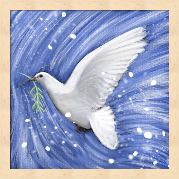 Dove In The Winter Wind Framed Wall Art