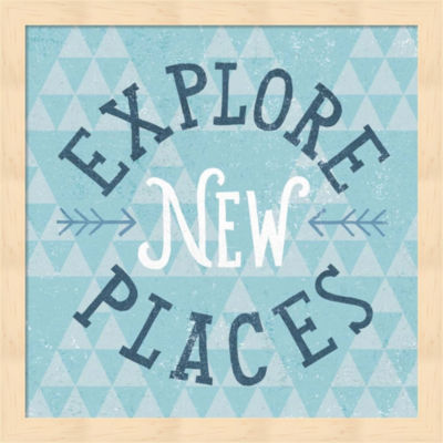 Mod Triangles Explore New Places Blue Framed Wall Art