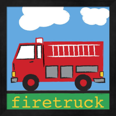 Metaverse Art Firetruck by Melanie Parker Framed Wall Art