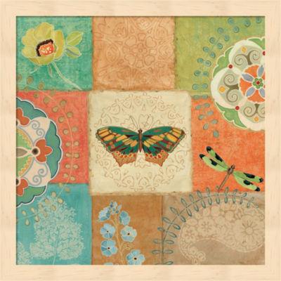 Folk Floral IV Center Butterfly Framed Wall Art