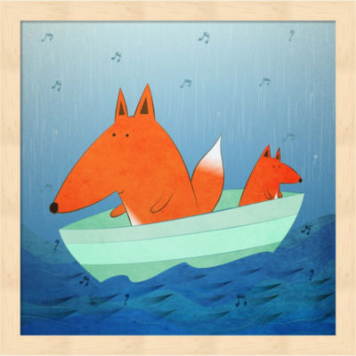 Metaverse Art Fox In A Boat Framed Wall Art