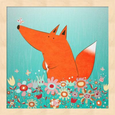 Fox In Flowers Framed Wall Art