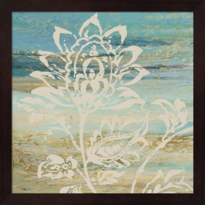 Metaverse Art Blue Indigo With Lace I Framed WallArt