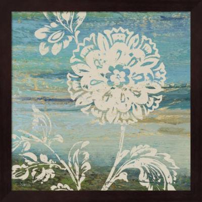 Metaverse Art Blue Indigo With Lace II Framed WallArt