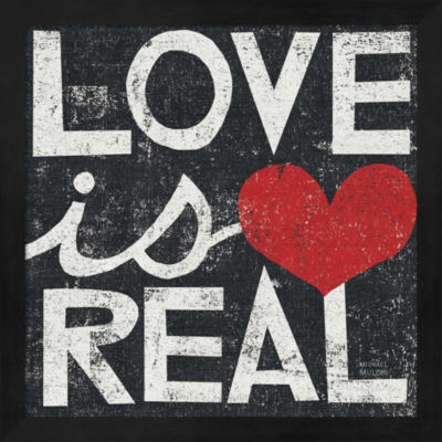 Metaverse Art Love Is Real Grunge Square Framed Wall Art