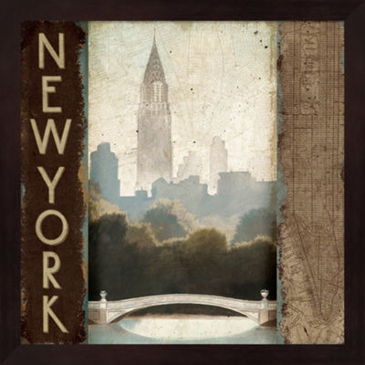 Metaverse Art City Skyline New York Vintage SquareFramed Wall Art