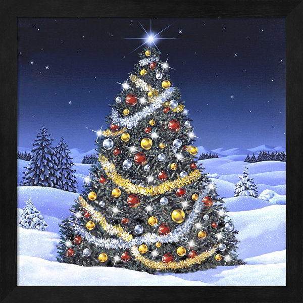 Christmas Tree And Glowing Lights Framed Wall Art