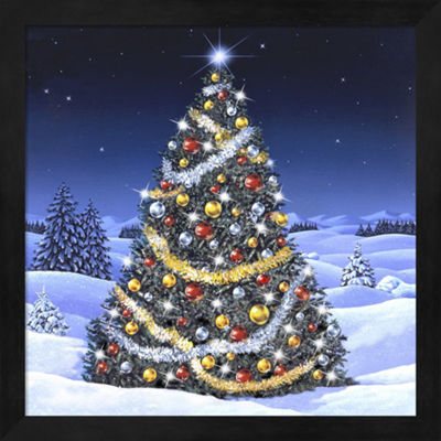 Metaverse Art Christmas Tree And Glowing Lights Framed Wall Art
