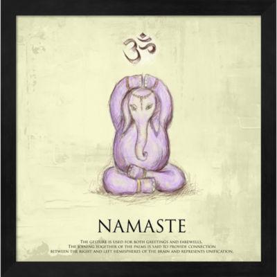 Elephant Yoga Namaste Pose Framed Wall Art