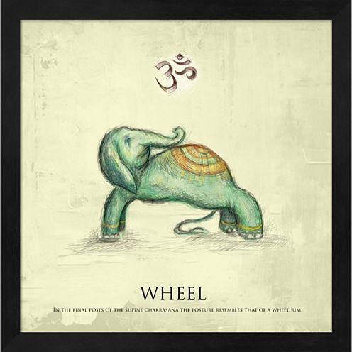Elephant Yoga Wheel Pose Framed Wall Art
