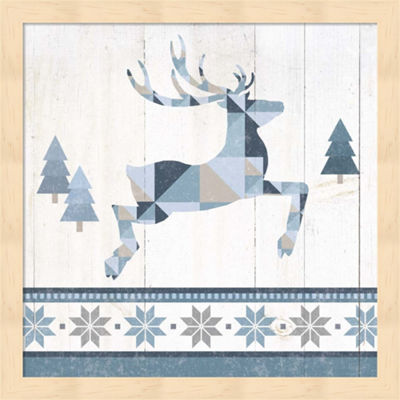 Metaverse Art Nordic Geo Lodge Deer III Framed Wall Art