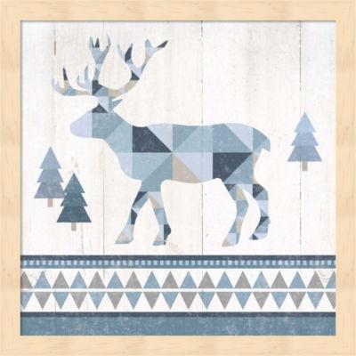 Metaverse Art Nordic Geo Lodge Deer IV Framed WallArt