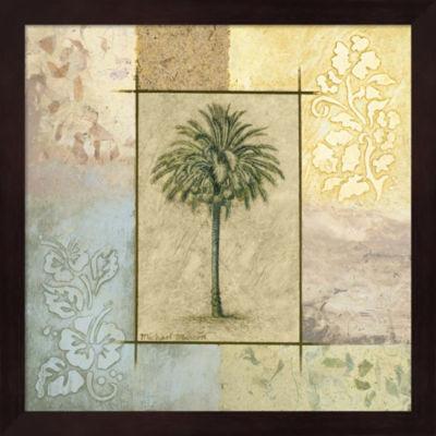 Metaverse Art Palm Woodcut II Framed Wall Art