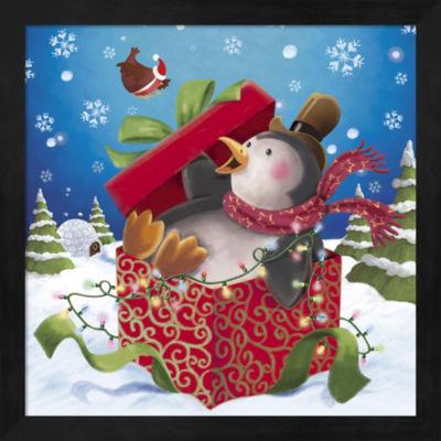 Metaverse Art Penguin Holiday Surprise Gift FramedWall Art