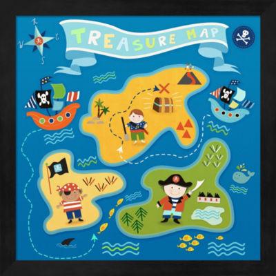 Metaverse Art Pirate Map Framed Wall Art