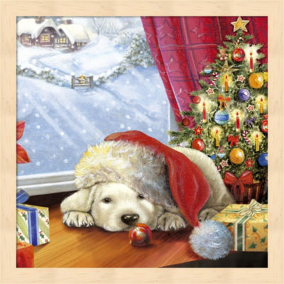 Puppy Snug And Christmas Tree Framed Wall Art