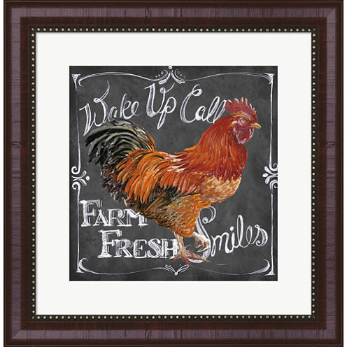 Rooster On Chalkboard II Framed Wall Art