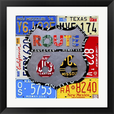 Metaverse Art Route 66 Road Sign Framed Wall Art