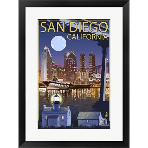 San Diego Night Framed Wall Art