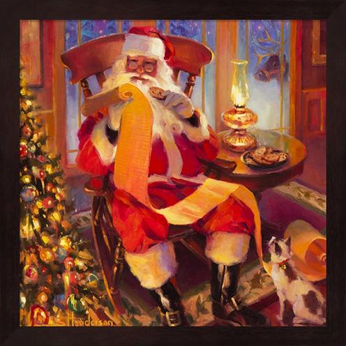 Santa Christmas List Framed Wall Art