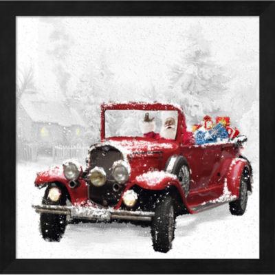 Metaverse Art Santa'S Red Classic Car Framed WallArt