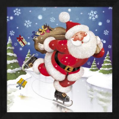 Metaverse Art Santa'S Skating This Christmas Framed Wall Art