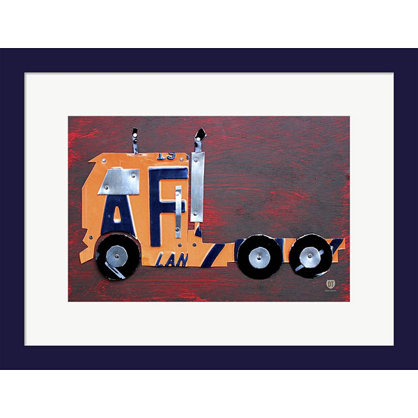 Metaverse Art Semi Truck License Plate Art FramedWall Art