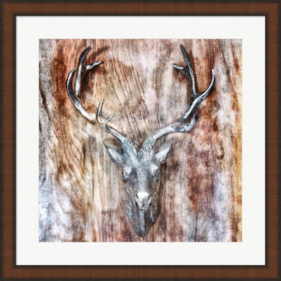 Metaverse Art Silver Antler Framed Wall Art