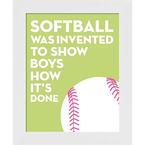 Softball Quote - White On Lime Framed Wall Art