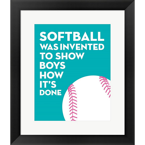Metaverse Art Softball Quote - White On Teal Framed Wall Art