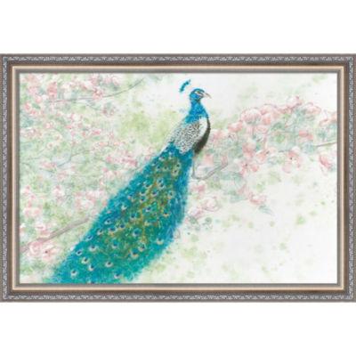 Metaverse Art Spring Peacock I Pink Flowers FramedWall Art