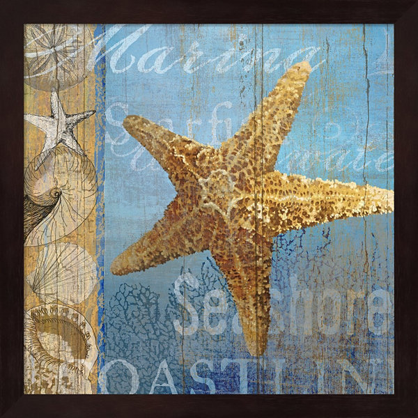 Metaverse Art Starfish And Sea Framed Wall Art