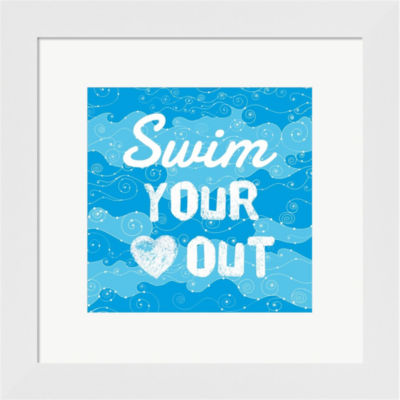 Metaverse Art Swim Your Heart Out - Grunge FramedWall Art