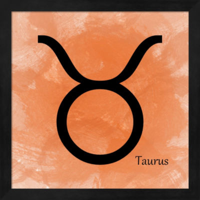 Metaverse Art Taurus - Orange Framed Wall Art
